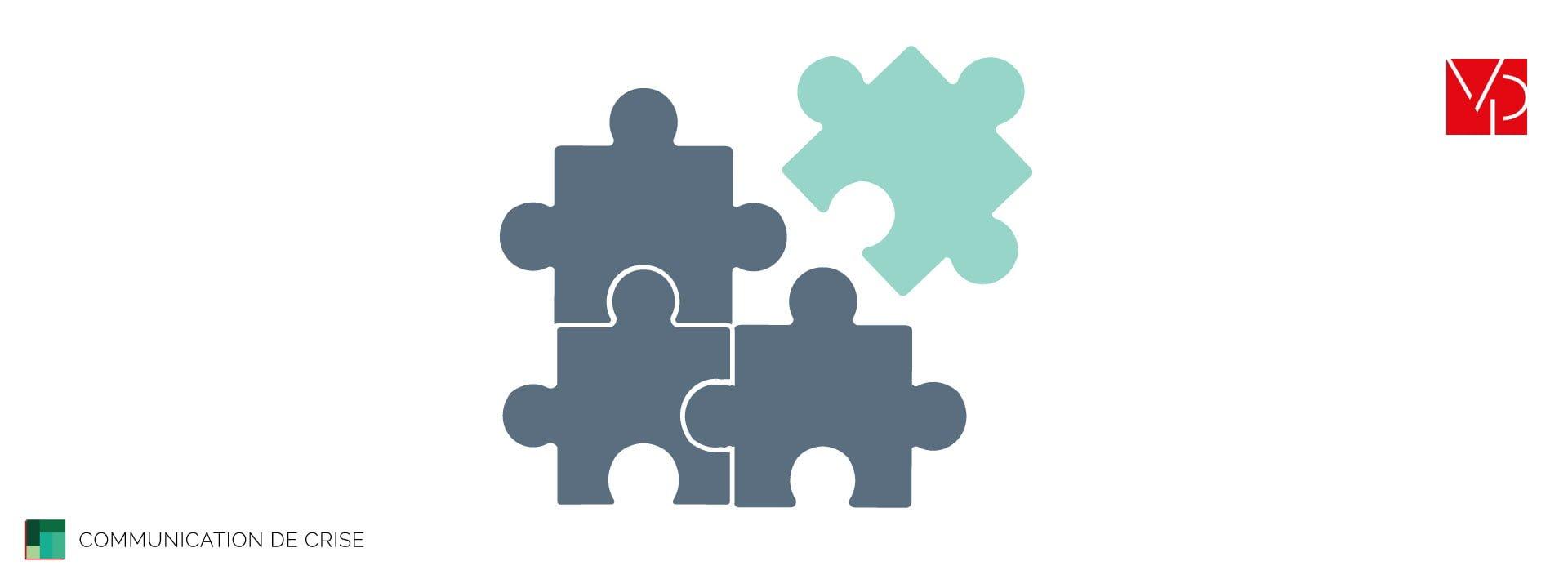 Illustration de la communication de crise avec un puzzle et une pièce du puzzle qui n'est pas la bonne