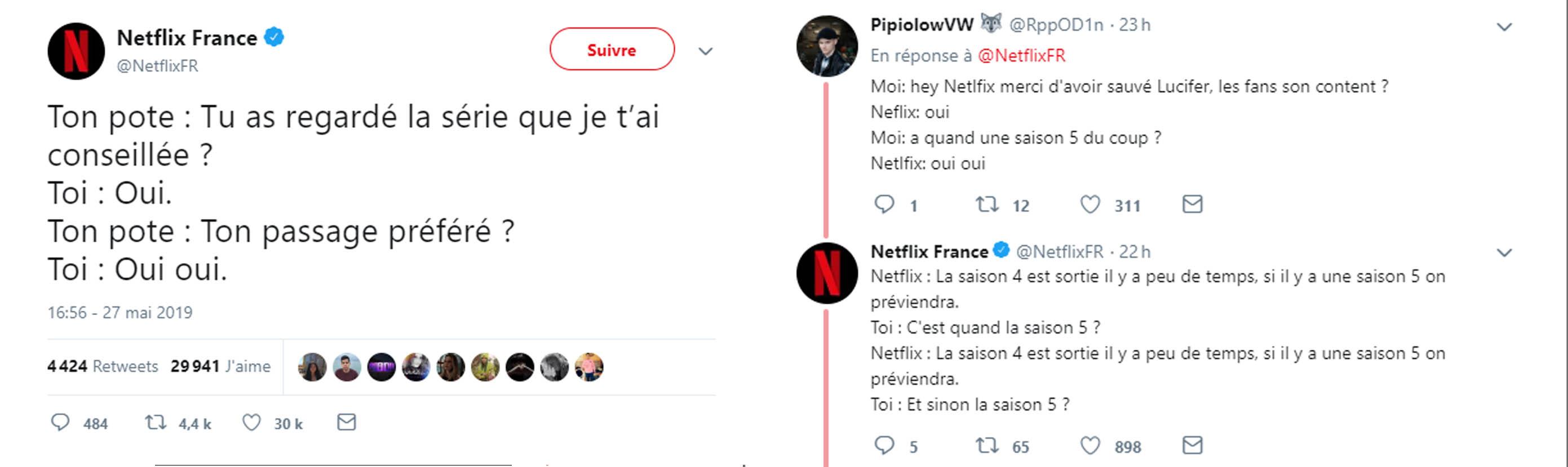 Illustration d'un échange sur twitter entre le community manager de Netflix et sa communauté.