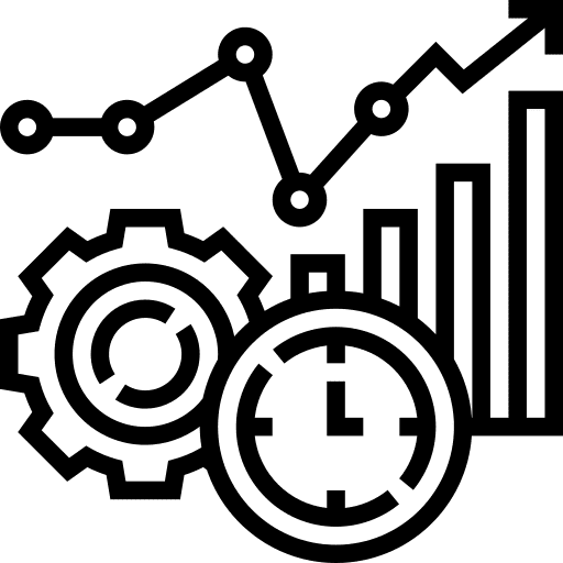 Icône avec une horloge, un engrenage et un graphique de croissance. Illustre la veille stratégique en communication de crise pour les entreprise en difficulté